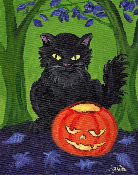 Halloween pumpkin black cat, gothic woods art 5 x 7 reproduction photo print jack o lantern spooky woodland forest decoration HAB cute