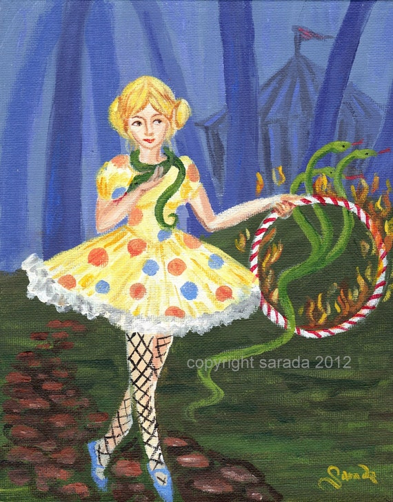 Hydrangea the three-headed snake girl, circus girl original surreal painting gothic carnival art