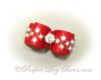 Red Show Dog Hair Bow with Rhinestones, Fancy Pet Bow, Topknot Dog Bows