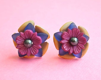 Peacock Floral Lucite Metal Stud Earrings, Floral Brass Studs, 60's Inspired, Stacked Flower Studs, Blue and Purple Floral Posts