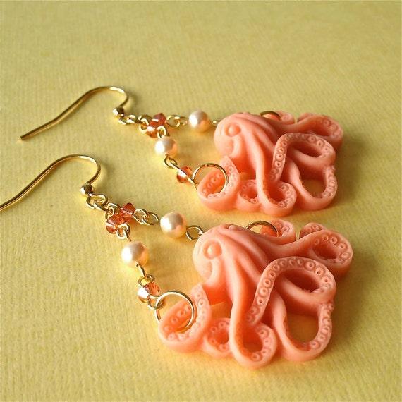 Coral Octopus Pearl and Crystal Chandelier Earrings, Nautical Earrings