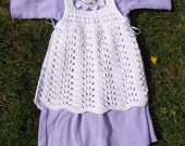 pretty pinafore. handknit baby dress.