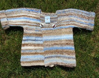 sandy beach handspun handknit baby sweater