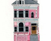 Pink House On Scott St., San Francisco - Postcard
