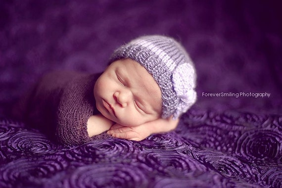 Bow Hat purple lilac newborn baby girl photography prop