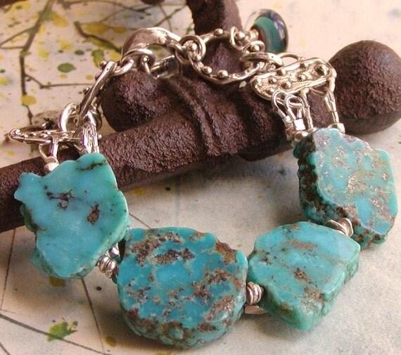 Chunky Turquoise Bracelet - Multi Strand Bracelet, Sterling Silver Jewelry
