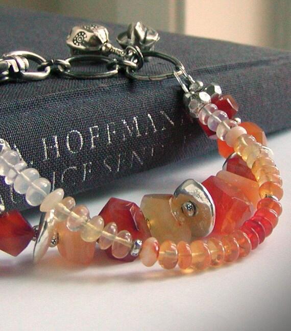 Fire Opal Bracelet,  Carnelian Multi strand Gemstone Jewelry