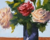 Quartet of Blooms - 14 x 11 Inch Original Oil Painting of Red and Pink Roses in a Vase - Bedroom Art - Powder Room Decor