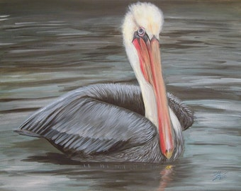 FUNDRAISER: Original Acrylic Painting, Brown Pelican, Benefits Bird Rescue