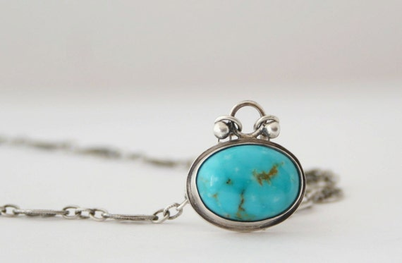 Sale - Turquoise Oval Sterling Silver Cabochon Pendant Necklace - Bezel Set - Natural Stone