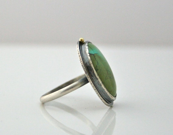 Oval Turquoise Ring Sterling Silver with 18K Accents - Size 9 - Bezel Set Cabochon