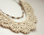 Scalloped Beige and Gold Silk Crochet Necklace