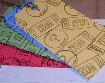 TAGS BOOKMARKS / Primary Colors and White Hand Stamped Matching Coin Envelopes / Teacher Book Clubs