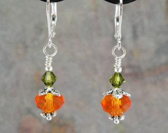 Pumpkin Spice, Handmade beaded earrings, crystal and silver, Autumn, Fall, Halloween, Thanksgiving, TPMB