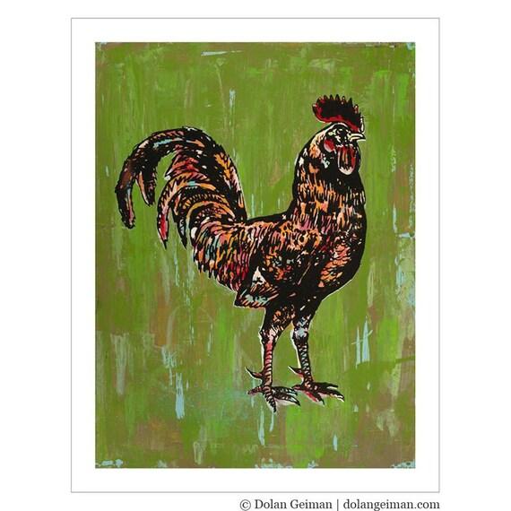 Green Chicken Painting / Farmhouse Kitchen Print / 11 x 14