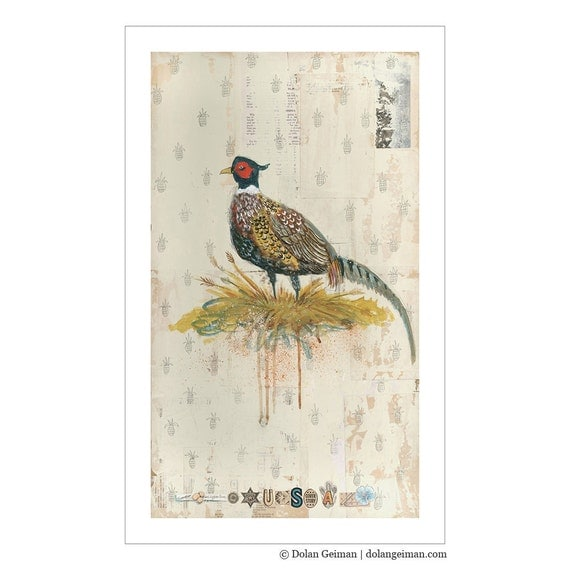 Pheasant Painting with Pineapple Pattern Modern Farmhouse Print
