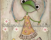 Print of my original Folk Art Childrens painting - Jump Rope Frog