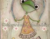 Print of my original Folk Art Childrens painting - Jump Rope Frog