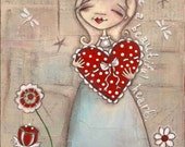 Print of my original Folk Art Painting - Your Beautiful Heart - 8 x 10