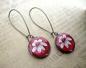 Beige Flower Penny Earrings//  recycled eco friendly  - Lucky penny earrings - coin jewelry