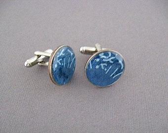 Denim Blue nModern Dime Cufflinks  -Blue Cuff links - Eco  Recycled Gift - Repurposed Japanese Paper