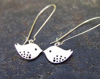 Silver Birdy Earrings - Silver Chic Earring Hoops - Chick Earrings