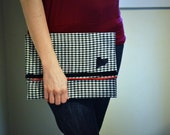 Clutch bag, Houndstooch Case, iPad Case, Clutch Purse, Purse, Bag, Fabric Clutch, Purse Clutch, Clutch, Envelope Case, Wool Ipad  Case