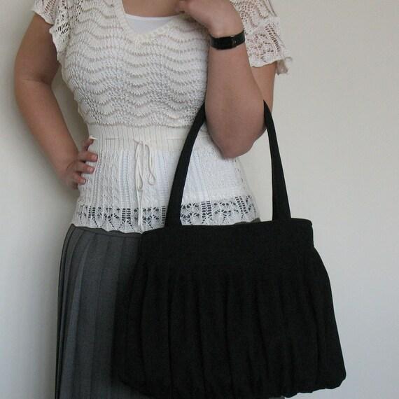 Pleated purse  Handbag  Black handmade shoulder bag  Large fabric tote bag