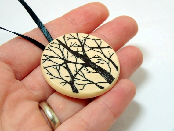 Hand Drawn Wooden Christmas Tree Ornament -Branching Trees -Holiday Gift -Stocking Stuffer