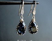 Bridal Chandelier Swarovski Crystal Cubic Zirconia Petite Drop Earrings -Sparkling Drops In Dark Blue