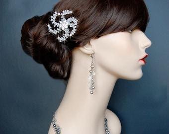 Wedding Hair Comb, Hair Fascinator, Wedding Hair Accessory, Crystal Hair Comb - Glistening Flower