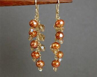 Pearl Earrings, Long Pearl Earrings, Copper Pearl Chandelier Earrings, Cinnamon Morsels Burnt Orange Faceted Freshwater Pearl Earrings