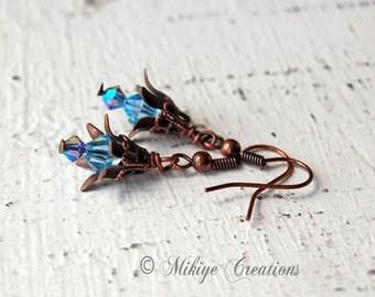 Vintage Inspired Earrings Woodland Fairy Blooms, Brass Jewelry, Blue Earrings, Copper Earrings