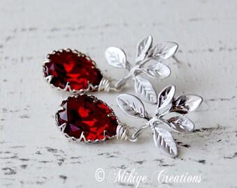 Wedding Earrings, Bridesmaid Red Earrings, Wedding Party Jewelry - Red Swarovski Crystal Earrings - Wedding Earrings -- Darling Siam
