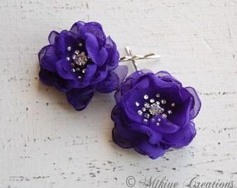 Flower Girl Bobby Pins, Wedding Hair Flowers, Bridal Mini Purple Hair Flower Bobby Pins - Christie in Royal Purple