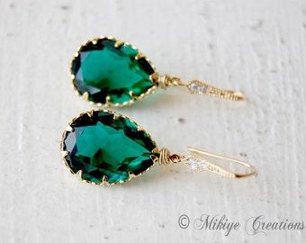 Wedding Earrings, Bridesmaid Earrings, Wedding Jewelry Emerald Swarovski Crystal Earrings - E106