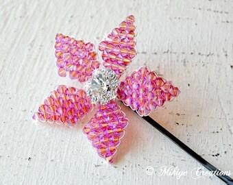 Wedding Bridesmaids Hair Flower, PromHair Flower, Wedding Accessory, Bridesmaid Hair Flower, Special Occasion Swarovski Crystal Flower