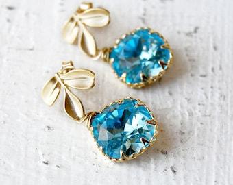Bridesmaid Earrings, Wedding Jewelry, Wedding Party Jewelry, Aqua Earrings, Prom Earrigns - Aquamarine Swarovski Crystal Earrings - E115