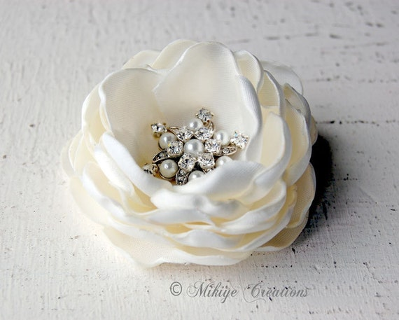 Bridal Hair Piece, Bridal Hair Flower, Wedding Hair Accessory, Wedding Hair Flowers  - Petite Charlotte