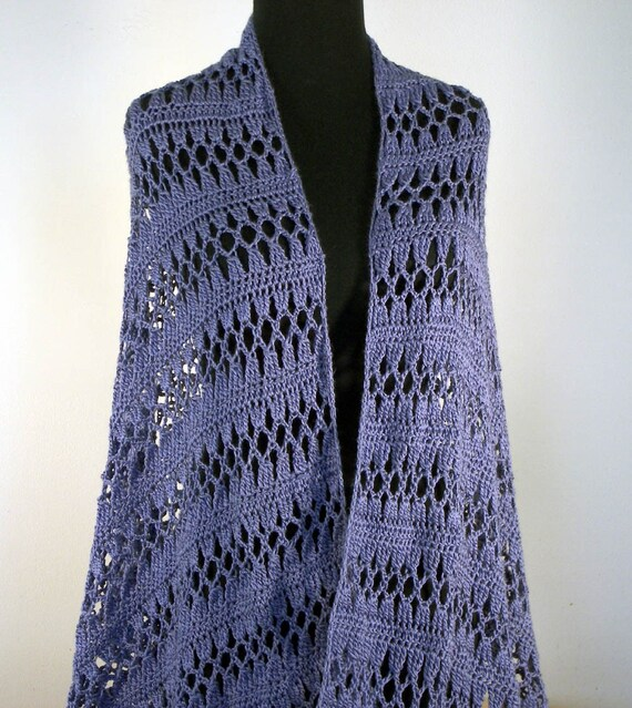 Crochet Lace Shawl Wrap Prayer Meditation, Blue Violet, Lavender, Mothers Day Spring Summer Fashion, Bamboo, Ready to Ship FREE SHIPPING