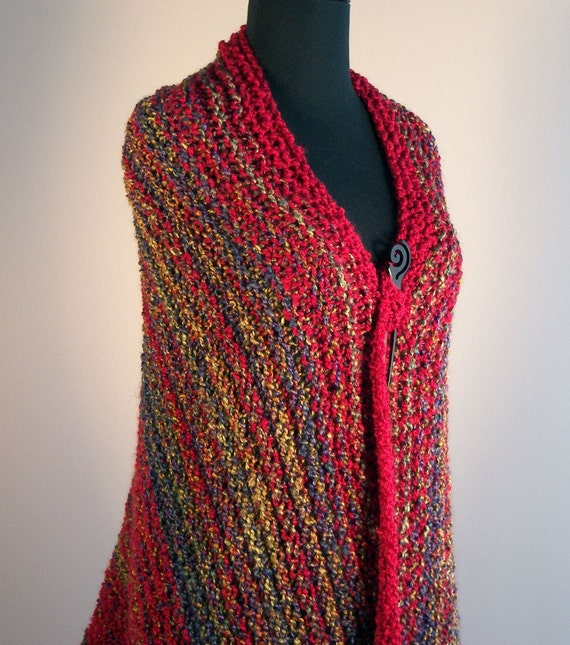 RESERVED for C. Pugh Hand Knit Shawl, Throw, Lap Blanket, Wrap, Prayer Meditation Comfort Shawl, Xtra Large, Red, FREE SHIPPING