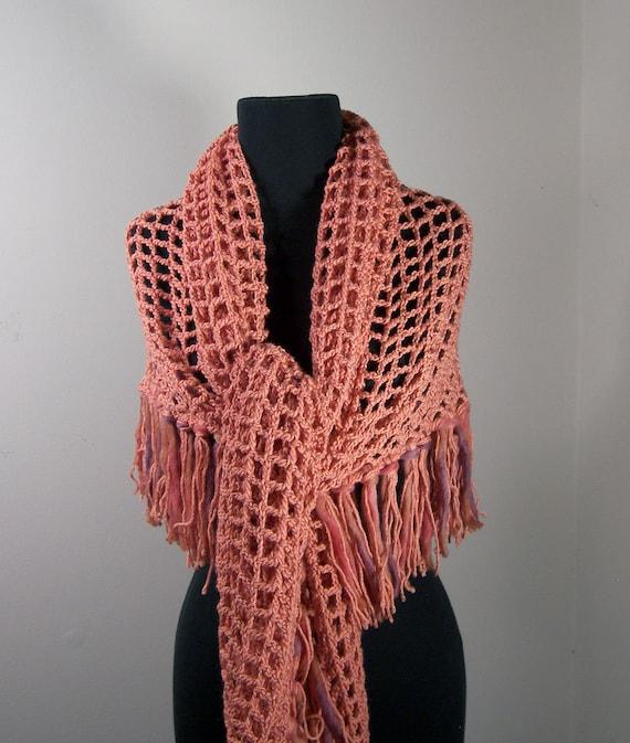 Crochet Shawl, Wrap, Triangle, w Fringe, Coral, Prayer Meditation Comfort, Spring Summer Fashion, Women, Ready to Ship FREE SHIPPING