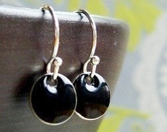 Black Dot Earrings, Dangle Earrings, Black Drop Earrings, Small Drop Earrings, Small Earrings, Little Black Dress Jewelry, Black Jewelry