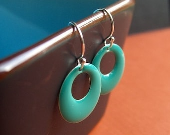 Teal Earrings, Hoop Earrings, Womens Jewelry, Teen Jewelry, Dangle Earrings, 80's Earrings, Girls Earrings, Tween Jewelry, Teal Epoxy
