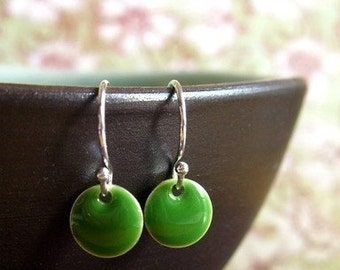 Green Itty Bitty Dot Earrings, Womens Jewelry, Girls Jewelry, Small Earrings, Dangle Earrings, Green Jewelry, Epoxy Earrings