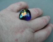 Cocktail ring, fused recycled glass cabochon, choose 1 of 3 -- trashionteam, WWWG, OlympiaEtsy, FunkyAlternativeJewelry, GeekyFreakyUnique-y