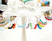 Colorful Beaded 14K GF or Sterling Silver Hoops