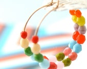 Colorful 14K GF or Sterling Silver Hoop Earrings, colorful hoops, beaded hoops, gold hoops, silver hoops