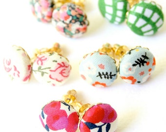 Button Ear Studs, little ear studs, fabric covered button studs, ear posts, gift for her, unique jewelry gift