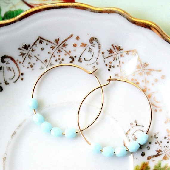 Powder Blue 14K GF Hoop Earrings
